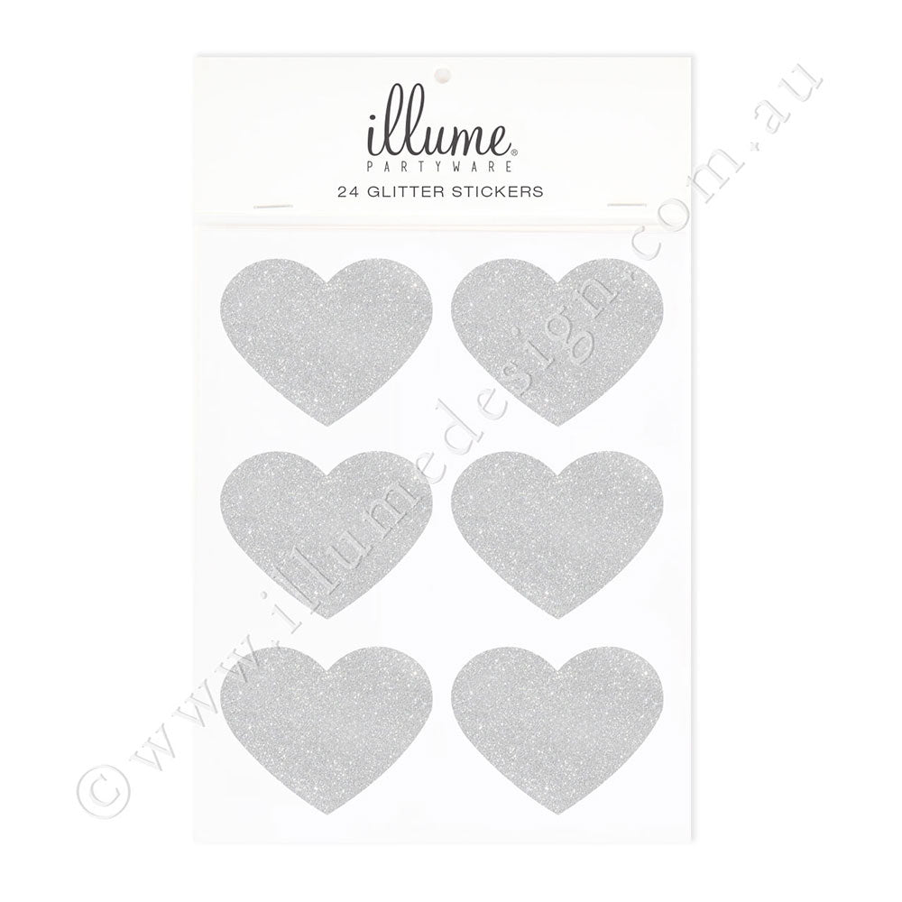 Silver Glitter Heart Sticker Seals - Pack of 24