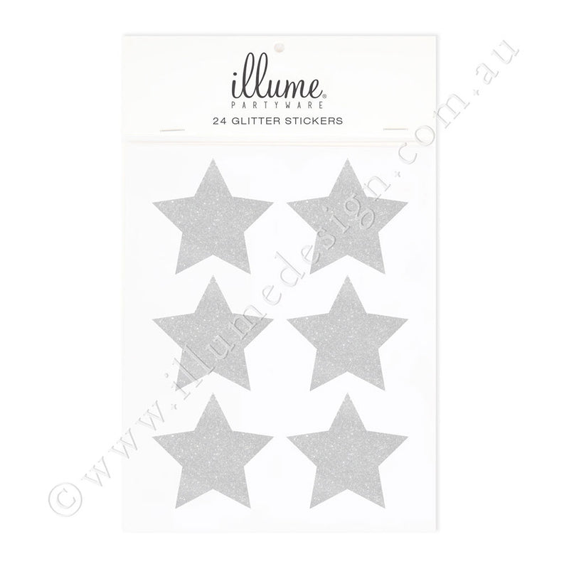 Silver Glitter Star Sticker Seals - Pack of 24