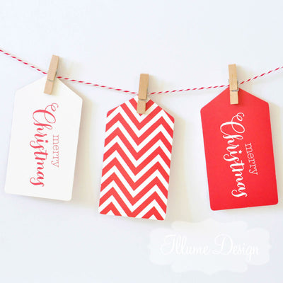 Merry Christmas Red Tag - Pack of 12