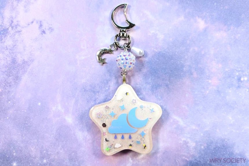 Rainy Night Pastel Pink & White Resin Charm
