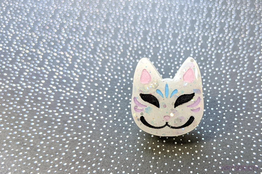 Ghost Kitsune Resin Pin