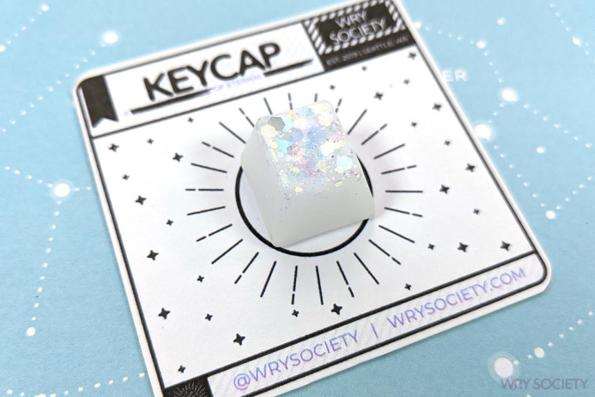 White Glitter-Top Resin Artisan Keycap