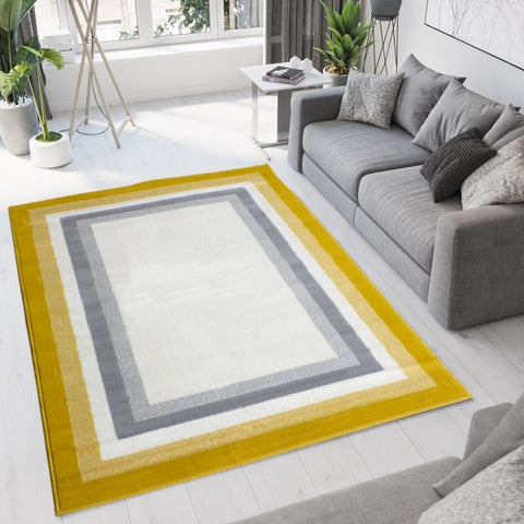 Yellow Grey Bordered Rug