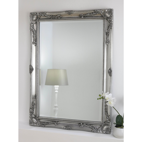 Silver Shabby Chic Rectangle Wall Mirror