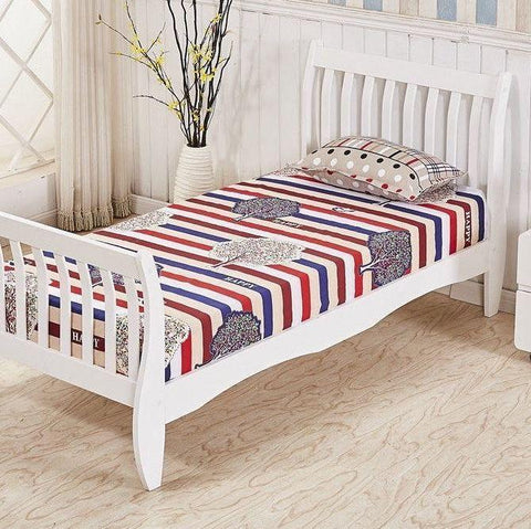 White Solid Pine Wood Single Bed Frame