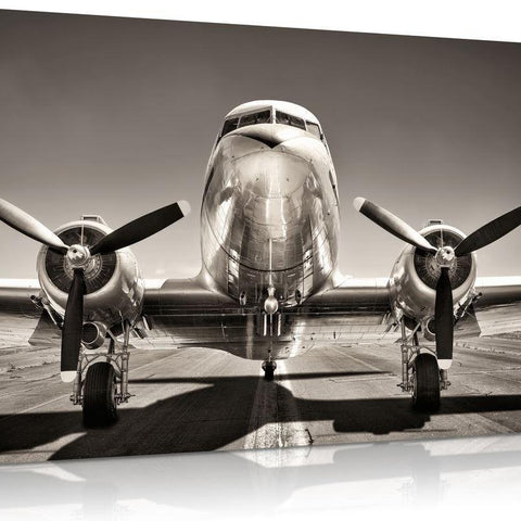 Vintage Silver Airplane Canvas