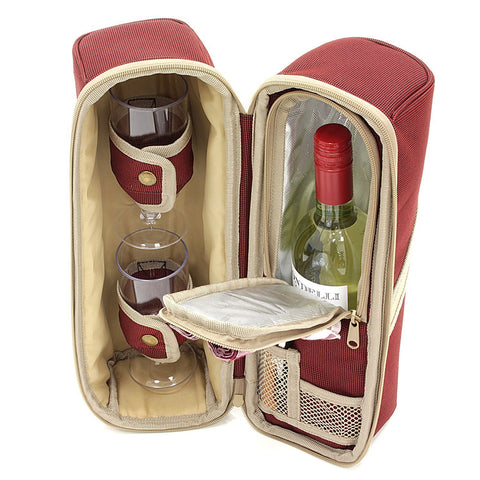 Deluxe Wine Cooler Bag with Glasses