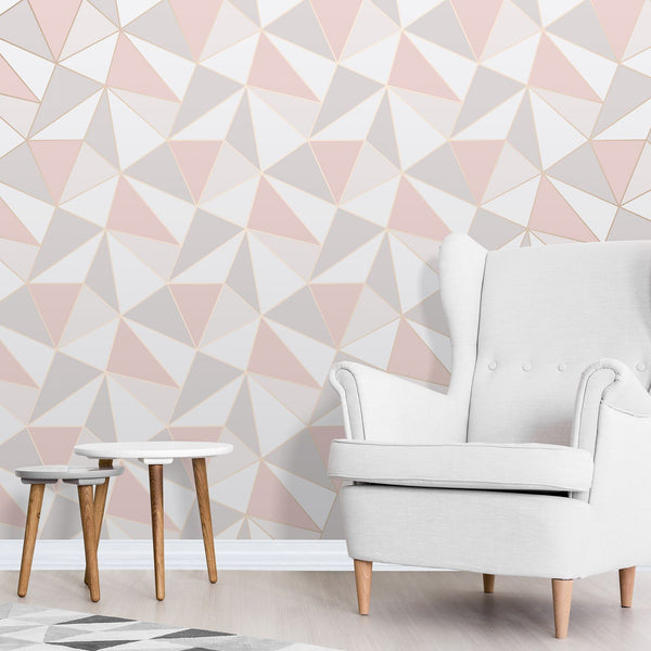 Rose & Gold Geometric Wallpaper