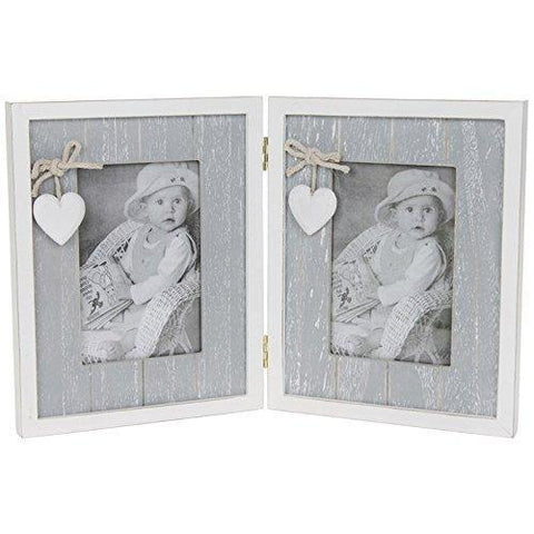 Grey Shabby Chic Double Photo Frame
