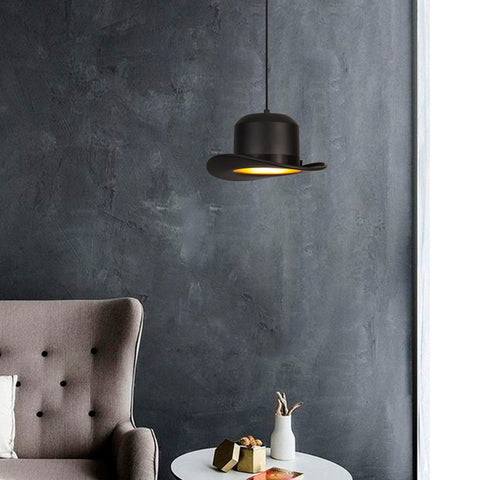 Black Bowler Hat Chandelier Light