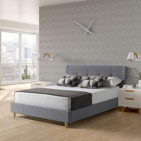 Grey Fabric Double Bed Frame
