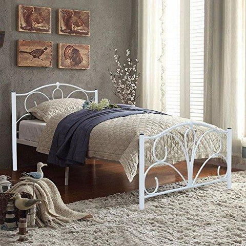 White Double Sized Metal Bed Frame