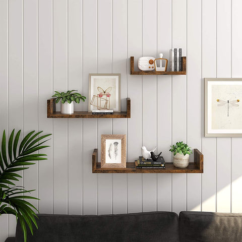 Set of 3 Rustic Wall-Mounted Floating Shelves