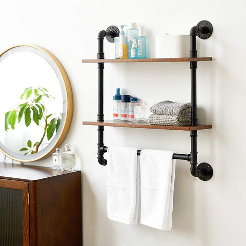 2-Tiers Industrial Floating Shelves