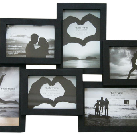 6 Multi Collage Black Photo Frame