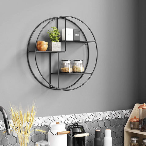 Floating Round Metal Wall Shelf