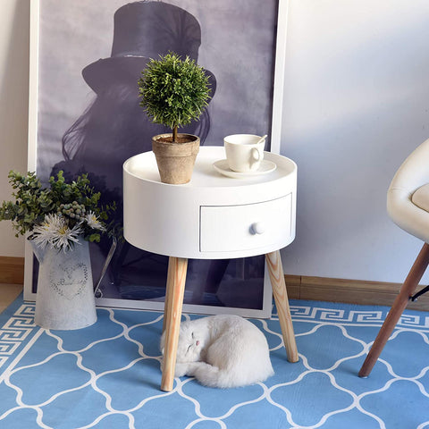Scandi White Round Coffee Table Wooden Side