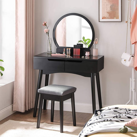 Black Oxford Dressing Table With Round Mirror & Matching Stool