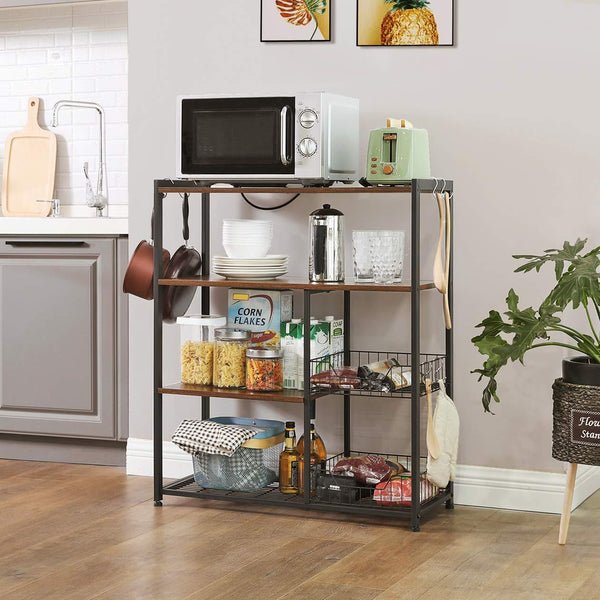 Rustic Brown Industrial Kitchen Rack