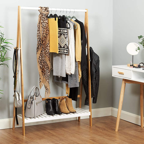 Scandi White and Bamboo Clothes Rail