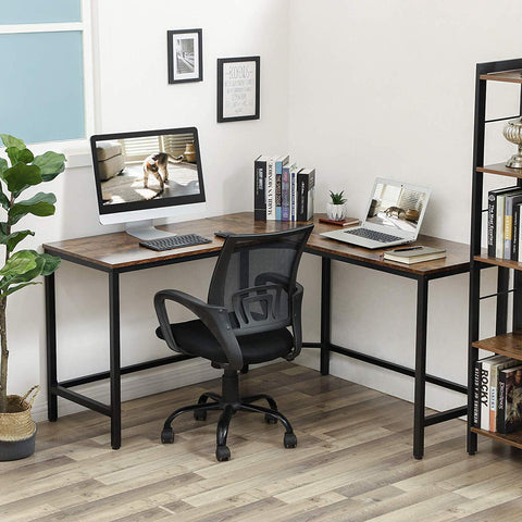 Rustic Brown Industrial L-Shaped Desk