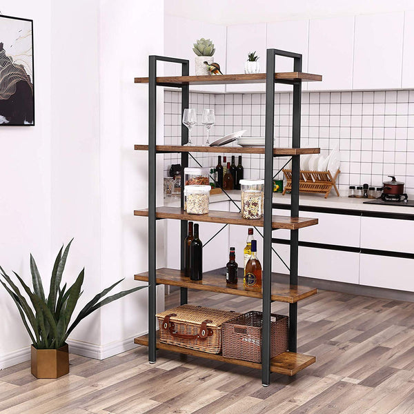 5-Layer Rustic Industrial Bookshelf