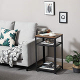 Rustic Brown Industrial Side Table with 2 Mesh Shelves