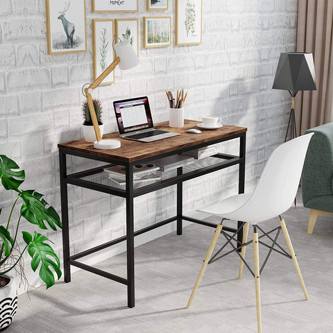 Industrial Computer Desk With Storage Shelves