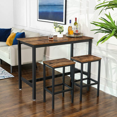 Rustic Bar Table with 2 Matching Bar Stools