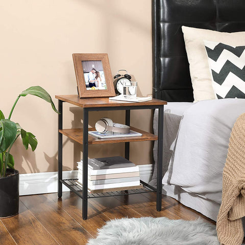 Rustic End Table with 3 Shelves