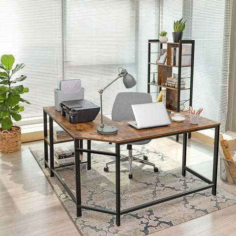 Rustic Brown Industrial L-Shaped Workstation