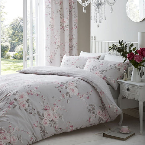Grey Spring Flowered Duvet
