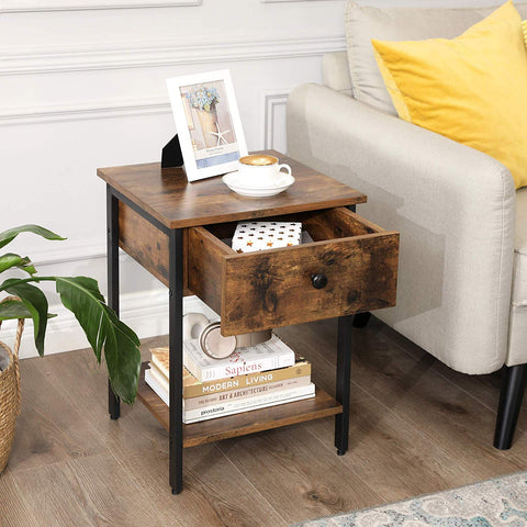 Rustic Brown Industrial Side Table & Drawer
