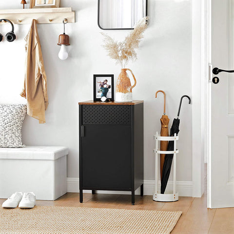 Black Storage Cabinet With Wooden Top
