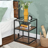 Rustic Glass Side Table