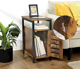 Rustic Brown Side Table & Cabinet
