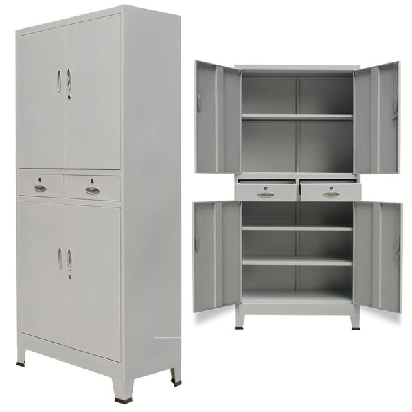 Grey Steel Office Cabinet with 4 Doors - 90x40x180 cm