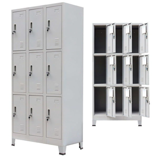 Grey Steel Locker Cabinet with 9 Compartments - 90x45x180 cm