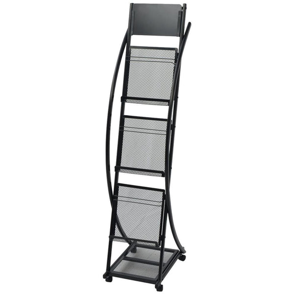 Black A4 Magazine Rack - 40x32x131 cm