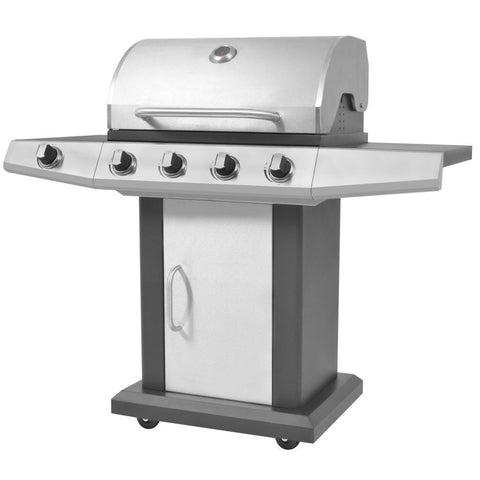 Black & Silver Gas Barbecue BBQ Grill 4 + 1 Burners