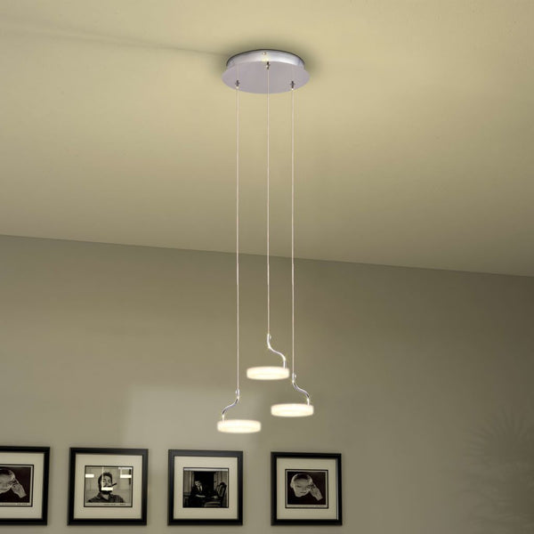 Warm White LED Pendant Lamp with 3 Lights