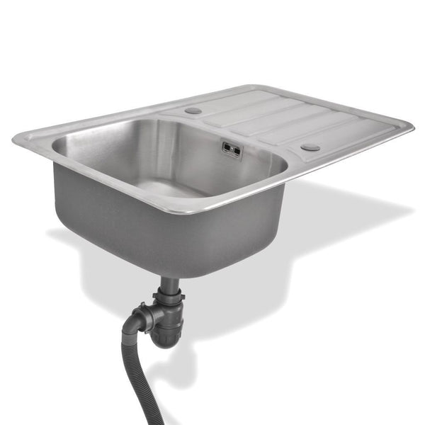 Kitchen Sink with Drain and Trap Stainless Steel