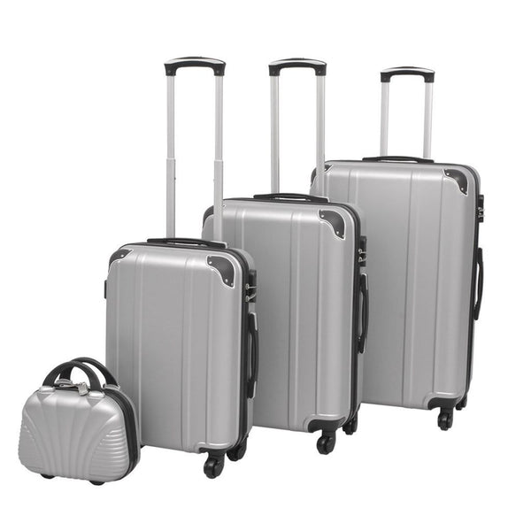 Silver Four Piece Hardcase Trolley Set