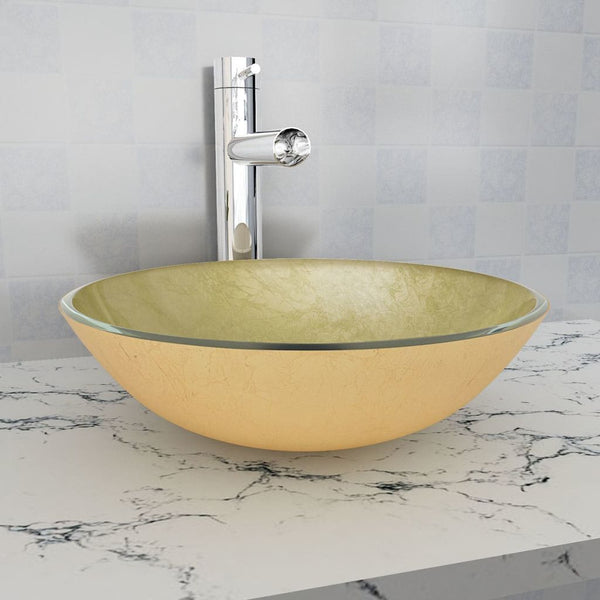 Gold Basin Tempered Glass 42 cm