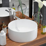 White Basin Round Ceramic - 40x15 cm