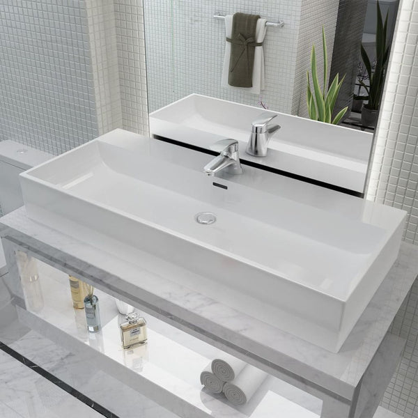 Ceramic White Basin with Faucet Hole - 100x42.5x14.5 cm