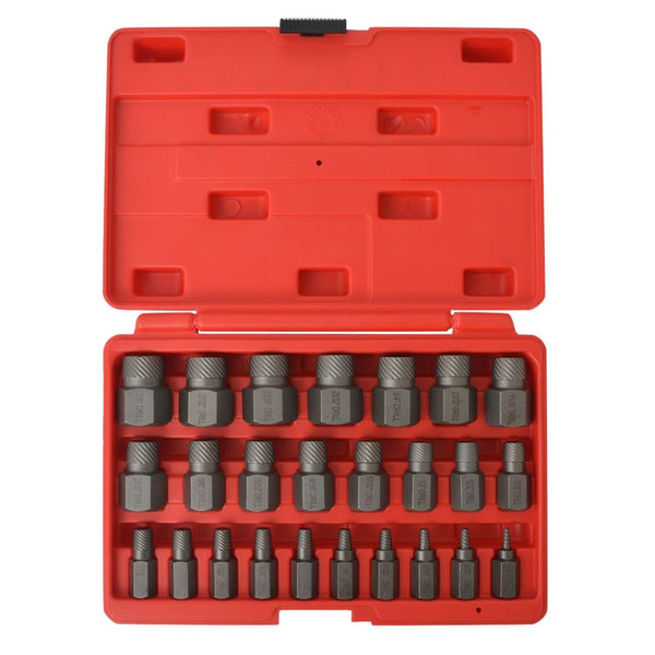 25 Piece Steel Multi-Spline Screw Extractor Set