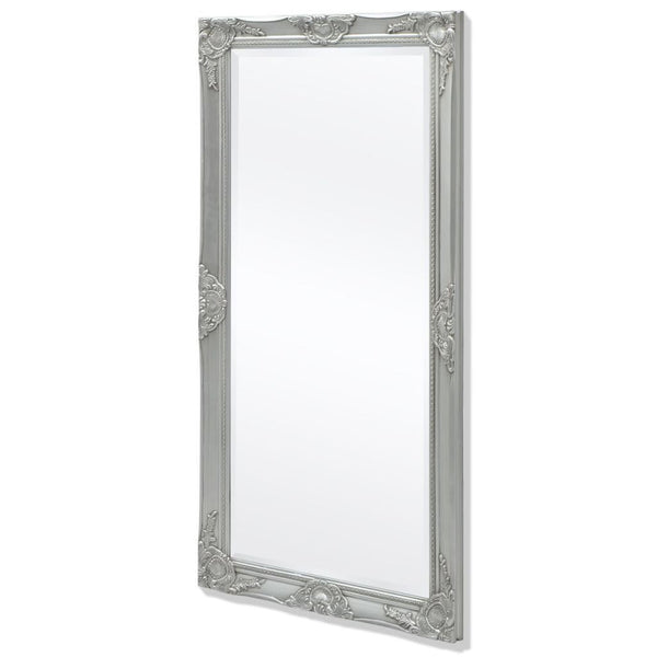 Silver Wall Mirror Baroque Style - 120 x 60 cm
