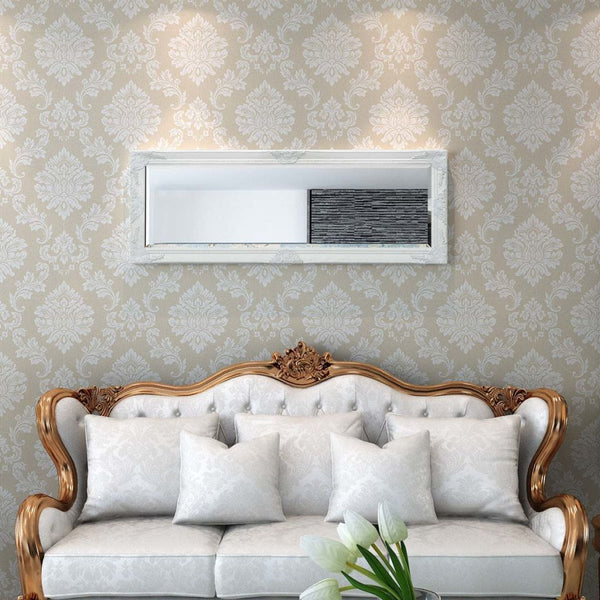 White Baroque Styled Wall Mirror 140x50 cm