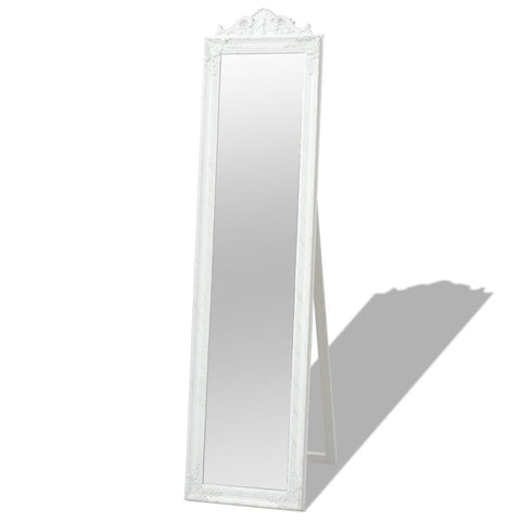 White Free-Standing Mirror Baroque Style - 160 x 40 cm